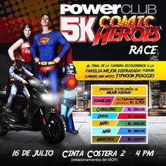 Gana premios en familia en la carrera #ComicHeroesRace5k de @PowerClubPANAMA este sábado 16 de julio 3 PM  inscribete solo B/.10.00 Adultos y B/.5.00 niños incluye una CAPA  de SuperHeroe !! Puedes Ganar una moto Piaggio al mejor disfraz en familia  mas premios en efectivo a las demás categorías
