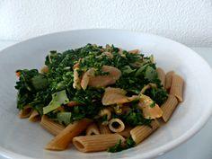 Volkoren pasta met spinazie en zalm