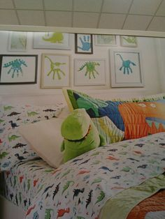 I love dinosaurs, and I'd like to think our son will, too. The handprint dinos on the wall are so cool!