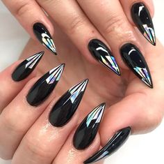 Black with holo tips stiletto nails