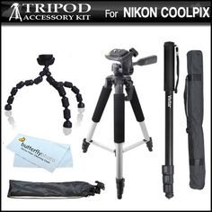 Tripod Kit For Nikon Coolpix P600, P610, P530, P520 P510 S9300 S6300 S4300 S3300, L620, S4200, S3200, S5200, S9200, S9400, S9500, S3500, S6500 S6600, S6800, L330, L830, L840 Digital Camera Includes 57 Full Tripod w/ Case + 67 Monopod + Flexible Tripod +