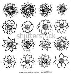 Henna tattoo flowers. Mehndi. Set.