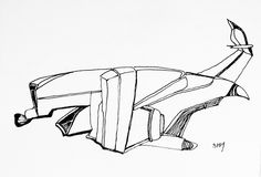 Spaceship #23 - May 23 2016 - ink on paper by Steven H MacDowall 7 inches…