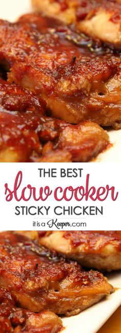 Slow Cooker Sticky Chicken - this easy recipe is one of the best crock pot recipes for chicken you will ever have (Baking Bread In Crockpot) Slow Cooker Huhn, Best Slow Cooker, Crock Pot Slow Cooker, Pressure Cooker Recipes, Recipes For Slow Cooker, Crock Pot Ribs, Slow Cooker Meat Recipes, Slow Cooker Turkey, Slow Cooking