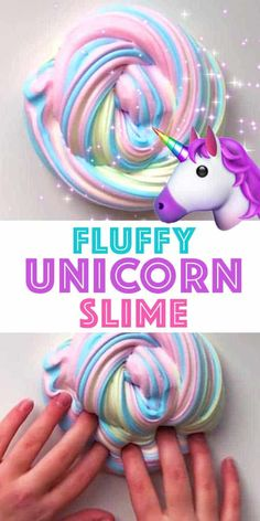Fluffy Slime Recipe - Unicorn Slime VIDEO Tutotrial - Living Locurto This is the BEST FLUFFY SLIME! How to make Rainbow Unicorn Fluffy Slime in only 5 minutes! An easy VIDEO tutorial and slime recipe for homemade fluffy slime. A fun kids craft activity. Diy Unicorn, Unicorn Crafts, Rainbow Unicorn, Unicorn Kids, Unicorn Party, Craft Projects For Kids, Fun Crafts For Kids, Craft Activities For Kids, Make Slime For Kids