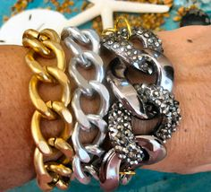 """Tres Chic Wrap Gold & Gunmetal Chunky Chain Stacking Bracelet Crystal Links...""""FREE SHIPPING""""    by LeatherDiva on Etsy, $38.00"""