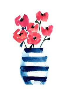 high end art option Striped Vase Wall Art Prints by Lindsay Megahed | Minted