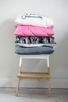 IKEA Bekvam stool is a piece made from solid wood with a hand-hole in the top step makes the step stool easy to move. Bekvam Stool, Ikea Bekvam, Diy Interior, Interior Decorating, Ikea Step Stool, Scandinavian Living, Textiles, Dream Decor, Home Bedroom