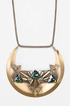 Merle O'Grady Templo Necklace. Made with brass and glass. An amazing depiction of collar art