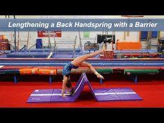 Using a Barrier to Lengthen a Back Handspring Preschool Gymnastics, Gymnastics Floor, Tumbling Gymnastics, Gymnastics Skills, Gymnastics Videos, Gymnastics Coaching, Gymnastics Training, Gymnastics Workout, Cheer Coaches