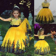 Barato 2015 amarelo vestido de daminha vestidos da menina de flor vestidos infantis primeira comunhão vestidos para meninas vestidos pageant, Compro Qualidade Vestidos de Dama de Honra diretamente de fornecedores da China: