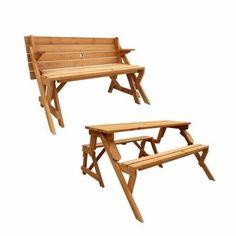 Leisure Season Convertible Picnic Table and Garden Bench, Medium Brown