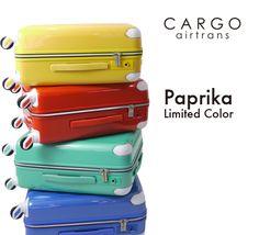 "CARGO airtrans(カーゴエアートランス)スーツケース 限定色 ""Paprika""シリーズを発売! 色とりどりの発色鮮やかなキャリー♪  http://www.trio1971.com/cargoair_info/newcolor.html"