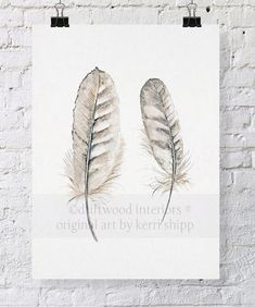 Feather Print 'Collected' 11x14 by driftwoodinteriors on Etsy