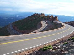 Pike's Peak roadway, Colorado Springs, Colorado (No guard rails, 14,115 feet above sea level)