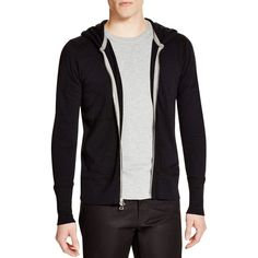 Wings + Horns Slub Knit Full Zip Hoodie ($165) ❤ liked on Polyvore featuring men's fashion, men's clothing, men's hoodies, black, mens full zip hoodies, mens sweatshirts and hoodies and mens hoodies