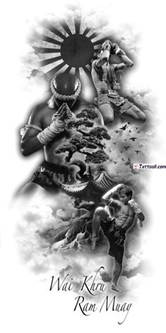 Effective Muay Thai fighting and sparring techniques Full Sleeve Tattoos, Tattoo Sleeve Designs, Tattoo Designs Men, Muay Boran, Tatoo Muay Thai, Tattoo Drawings, Body Art Tattoos, Elefante Tattoo, Wolf Tattoo Design
