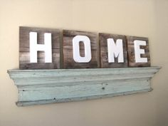 HOME Sign on Reclaimed Wood with Dimensional by FleaMarketSunday, $100.00