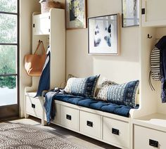 Maximize your entry! If space allows, install a system that incorporates not only seating but storage for those things that inevidently get misplaced in the morning. This would also be nice in a young teens room. Home Interior, Interior Design, Mudroom, Home Organization, Organizing, Home Projects, Small Spaces, Family Room, Sweet Home