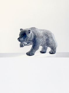 Hand Carved Soapstone Black Bear Figurine Vintage WOLF by jarmfarm