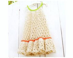 White Lace Crochet Dress for Toddler Girls by PdfPatternDesign