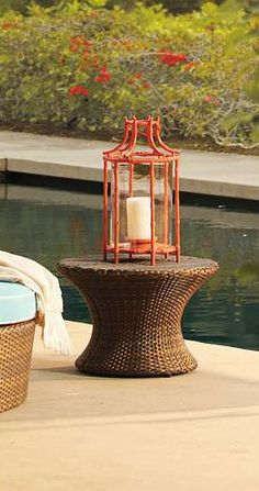 Our tropical lantern is crafted from solid cast aluminum that mimics graceful and strong bamboo.
