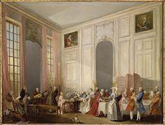 Michel Barthélemy Ollivier   Le Thé à l'anglaise servi dans le salon des Quatre-Glaces au palais du Temple à Paris en 1764   Images d'Art