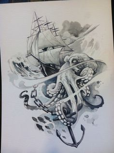 Clipper ship and Octopus watercolor