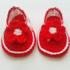 0-6 Months Baby girl red & white flower sandals, shoes and gift £8.00