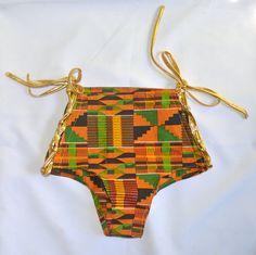 Ashanti Gold Kente High-Waist Lace-Up Bikini Bottom by TribesOfKin on Etsy