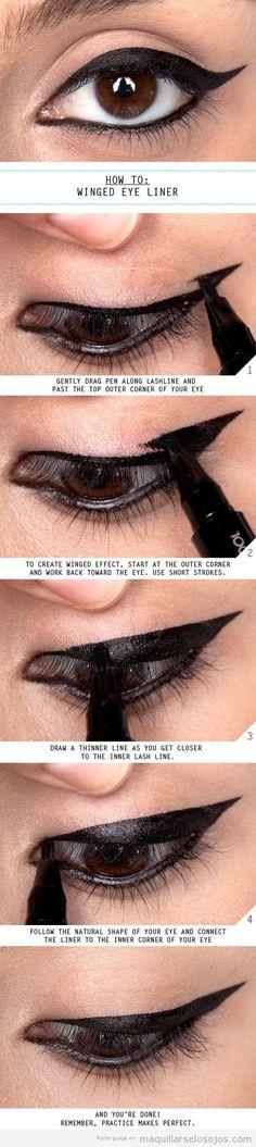 Tutorial maquillaje de ojos estilo cat eye con eyeliner rotulador                                                                                                                                                     Más