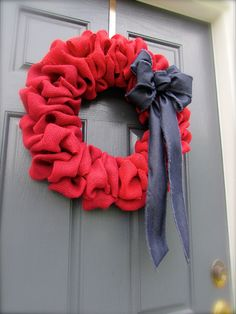 Red Burlap Wreath, Red and Blue Wreath, Burlap Wreath Red, July Fourth Wreath, Patriotic Wreath