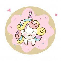 Lindo unicornio vector y donut pastel