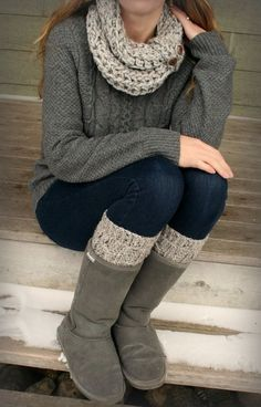 matching infinity scarf and boot cuffs, how cute!!! 38 Stylish Fall Outfits with Boots and Tights