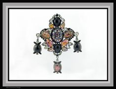 """Large """"drippy brooch"""" with Vintage Swarovski Crystal and Vintage Czech Black Fire Opals by Bryan Greenwood of Crystal Countess / Jewellery by Greenwood Design"""