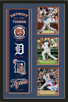 One framed Detroit Tigers heritage banner with three 8 x 10 inch Detroit Tigers photos of Austin Jackson, double matted in team colors to 22 x 34 inches.  The lines show the bottom mat color.  $189.99 @ ArtandMore.com