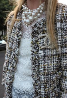Tweed + pearls + Chanel + lace: way too chic ! I wish I could wear an outfit like this every day ! Informations About Tweed + pearls + Chanel + lace: way too chic ! I wish I could wear an outfit lik. Chanel Couture, Mode Chic, Mode Style, Moda Chanel, Chanel Chanel, Chanel Bags, Chanel Coat, Chanel Brooch, Chanel Pearls