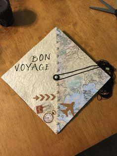 Graduation cap. Bon voyage travel themed.