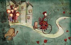 Button Lady rides her bicycle. Art print / by LeeWhiteIllustration