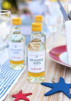 Personalized Mini Wine Bottles for a July 4th Clam Bake