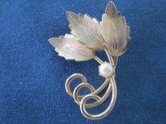 Vintage 12K Gold And Pearl Leaf Brooch by BitofHope on Etsy, $18.00