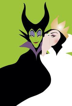 『眠れる森の美女』マレフィセント&『白雪姫』女王★ ディズニー・ヴィランズのイラスト画像