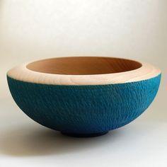 Turquoise Decorative Bowl Beech Decorative Bowl 166 Mm X 75 Mm  Woodturning & Woodburning