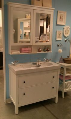 Bathroom sink & cabinet at Ikea. I didn't realize they had bathroom vanties and cheap prices!