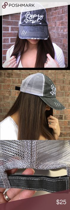 🎉HP!!🎉Distressed Gypsy Soul Trucker Hat Enjoy camping trips and endless travels in this adorable Gypsy Soul trucker hat with mesh back and velcro closing.  No tags attached.  The one you purchase will not be the one I wore (keeping one😉).  PRICE FIRM UNLESS BUNDLED (10% off bundles).                                                                      🏕80% Cotton 20% Polyester                                🚫PayPal 🚫Trades Boutique Accessories Hats