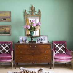 House of Turquoise: Marmalade Interiors // pinkish velvet armchairs Decor, House Design, Interior Design Color, Interior, Blue Rooms, Mint Walls, Pink Chair, Interior Design, Mint Green Walls