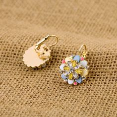 Fabulous Dangle Earrings With Artificial Gemstones And Shell Element $7.98
