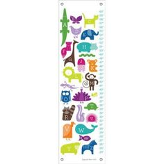 Oopsy Daisy - ABC Animalia - Rainbow Growth Chart 12x42, Ampersand Design Studio
