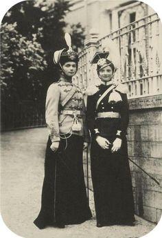 Grand Duchesses Olga and Tatiana in military dress