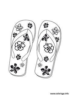 Coloriage plage tongs vacance ete Dessin à Imprimer Coloring Book Pages, Coloring Pages For Kids, Coloring Sheets, Free Coloring, Adult Coloring, Summer Crafts, Diy And Crafts, Plastic Fou, Scrappy Quilts